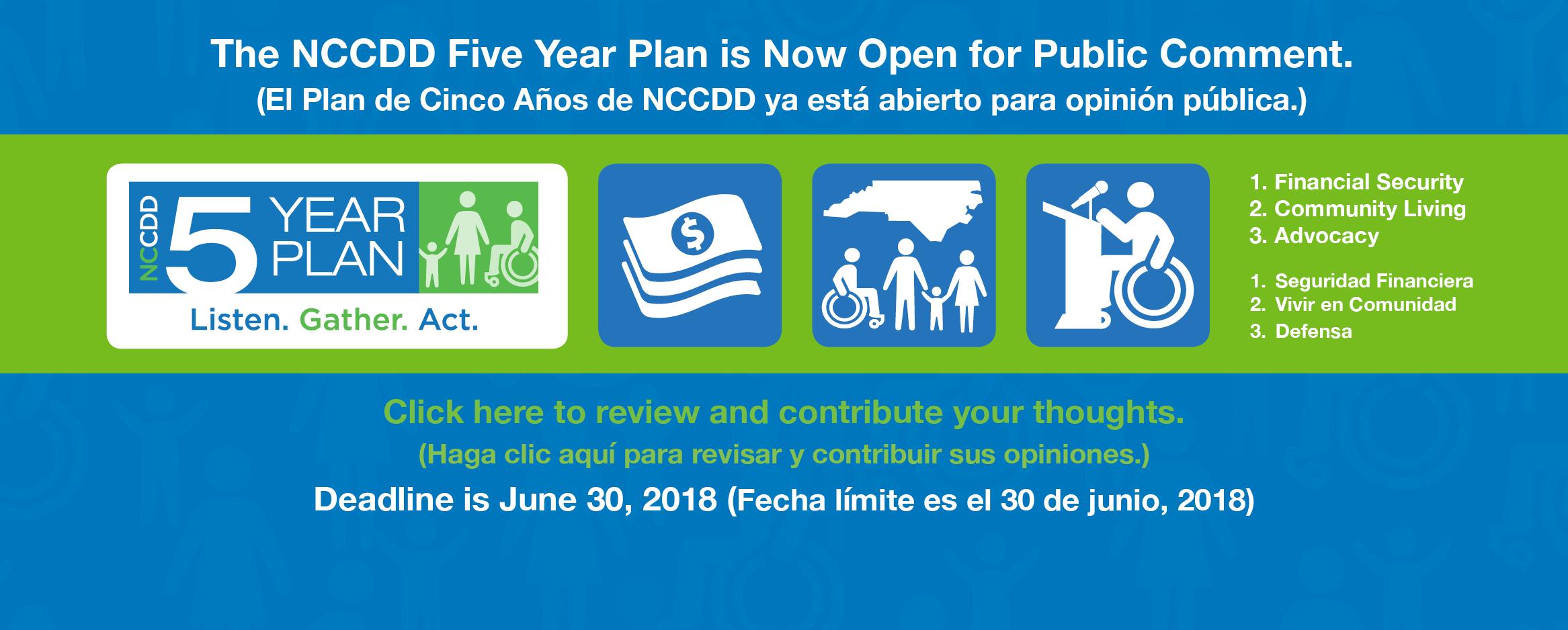 The NCCDD Five Year Plan is Now Open for Public Comment. (El Plan de Cinco Años de NCCDD ya está abierto para opinión pública.)