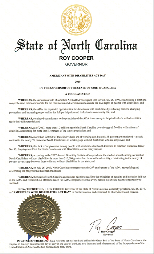 2019 ADA Proclamation signed by Governor Roy Cooper