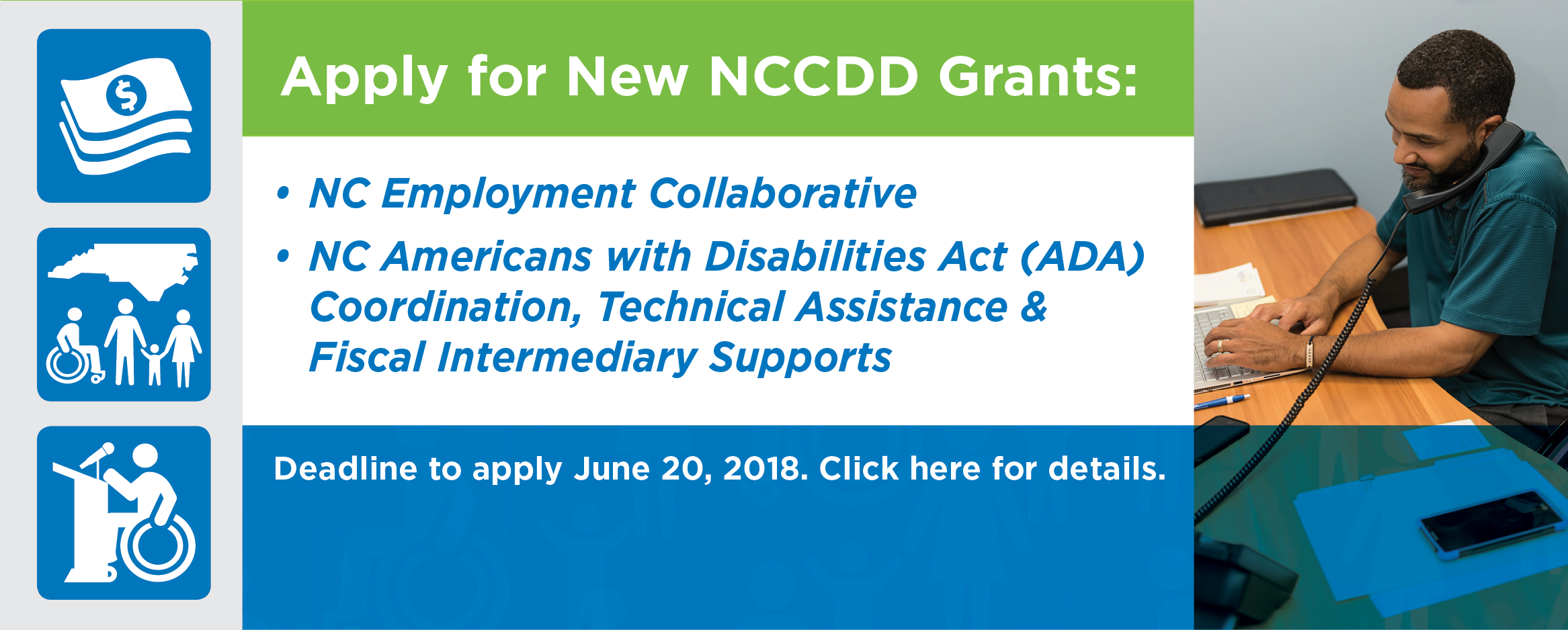 Announcing NewApply for New NCCDD Grants NCCDD Grant Opportunity: Supported Living: Making the Difference. Click here to Apply. Special Alert:  Due to weather delays, deadline extended to Oct. 12!