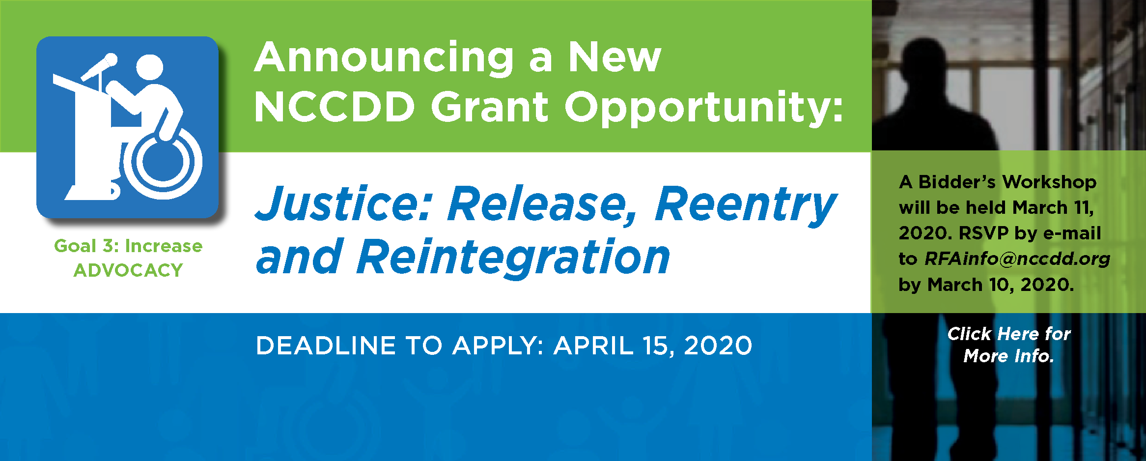 Announcing a New NCCDD Grant Opportunity: Justice: Release, Reentry and Reintegration