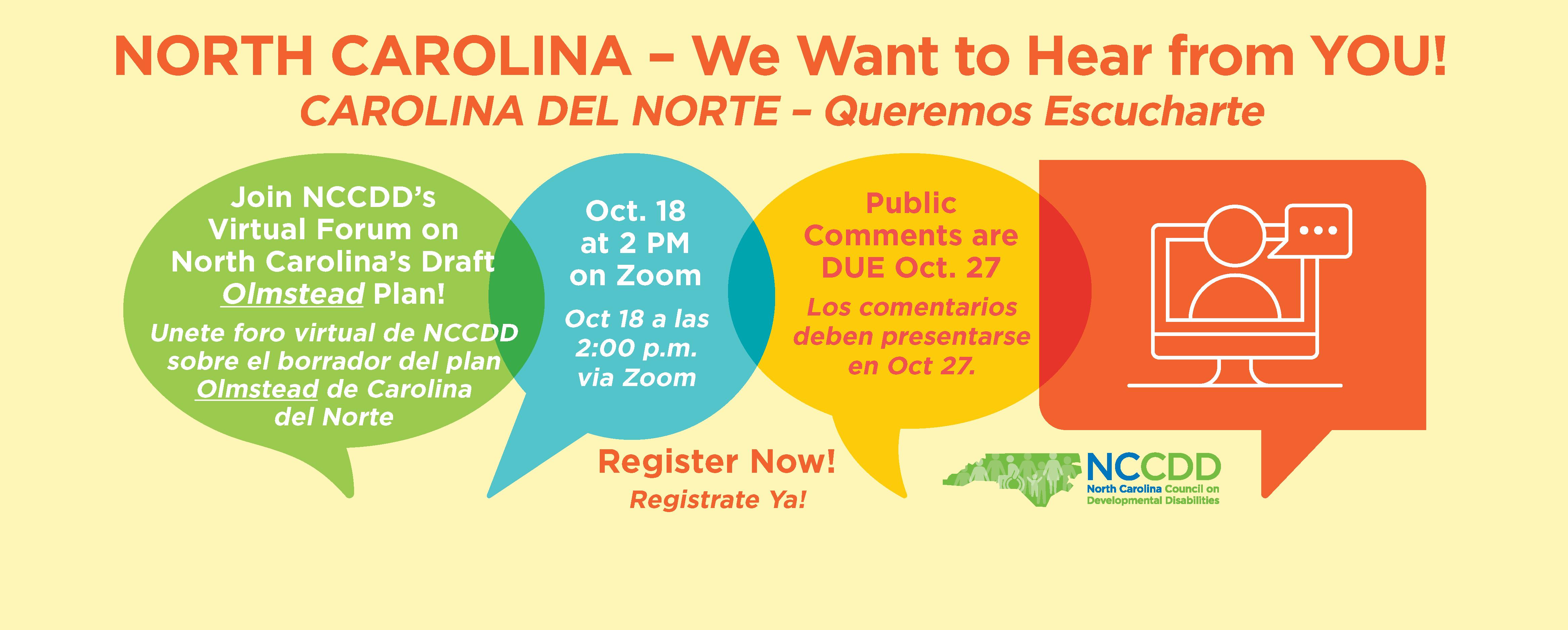 Join NCCDD's Virtual Forum on North Carolina's Draft Olmstead Plan! Oct 8 at 2 PM (Unete foro virtual de NCCDD sobre el borrador del plan Olmstead de Carolina  del Norte)