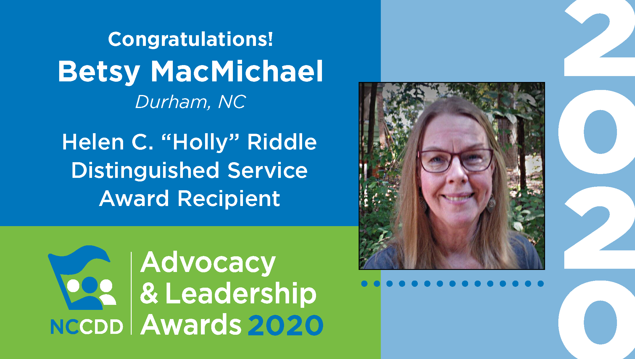 "Helen C. ""Holly"" Riddle Distinguished Service Award recipient Betsy MacMichael"