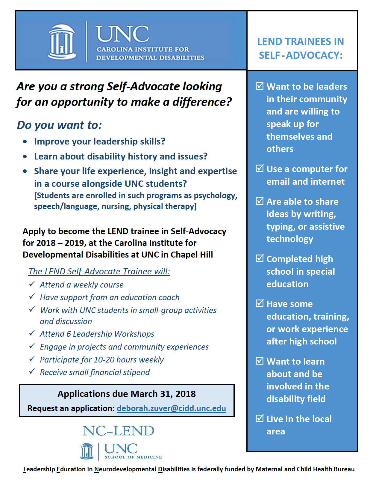 LEND Self-Advocate Trainee Applications Now Open for 2018
