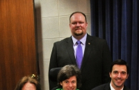 Senator Tamara Barringer (front, left), Senator Ralph Hise (back), Senator Jeff Jackson (front, right), and Council Member Carrie Ambrose were present at the ABLE Act press conference at the NC General Assembly on Tuesday, March 24, 2015.