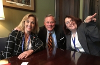 Kelly Woodall (right) meets legislators at DSP 2016