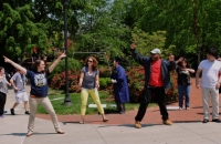 UNCG Beyond Academics students surprised the crowd with a flash mob